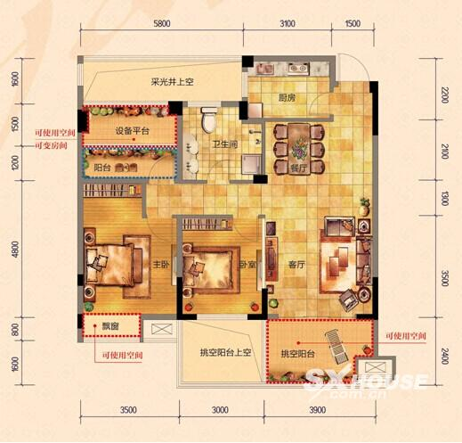 论坛)95户型功能齐全,三房两厅一卫,客厅和两个卧室三室都朝南,100%无遮挡阳光,约11米超大南向面宽,阳光美景齐拥揽。3.9米开间的客厅,3.5米开间的主卧,3米开间的卫生间,这样的尺度,在市场上是很少见的,一般都要120-130方的户型才能做到,而在颐和雅苑95户型就能实现,超高性价比,超值实惠。 完美大三房 蜗居不再来 颐和雅苑3.